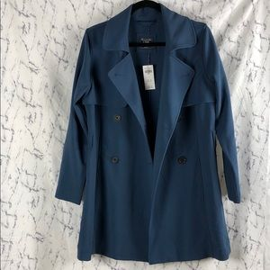 NWT Abercrombie Blue Peacoat Trench Coat Button Up